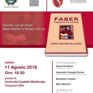 """""""Faber: dietro i testi, dentro la storia"""", a Ceppaloni la presentazione di un libro su De André"""