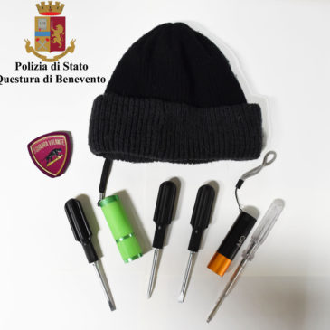 Trovato in possesso di  cacciaviti, torce e altri strumenti atti allo scasso Pregiudicato avellinese denunciato dalla Polizia di Stato