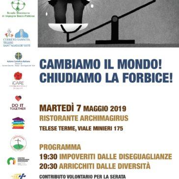 """""""Chiudiamo la forbice"""", domani sera a Telese Terme si rifletterà sulle cause strutturali di un sistema economico che uccide ed esclude"""