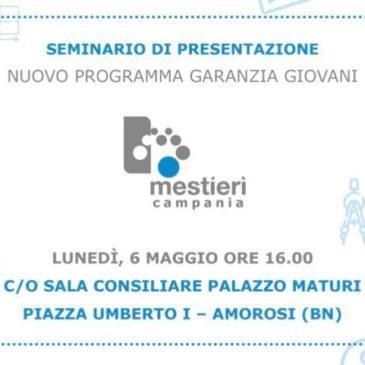 Amorosi, lunedì il seminario di presentazione del nuovo programma «Garanzia Giovani»