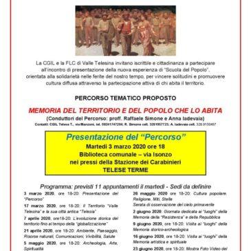 """CGIL e FLC di Valle Telesina: presentazione della """"Scuola del Popolo"""""""