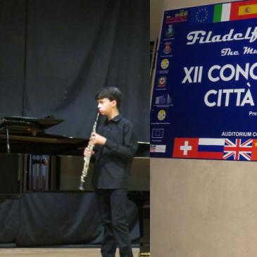 Airola, l'oboista Ruggiero in Calabria incanta giuria e  pubblico